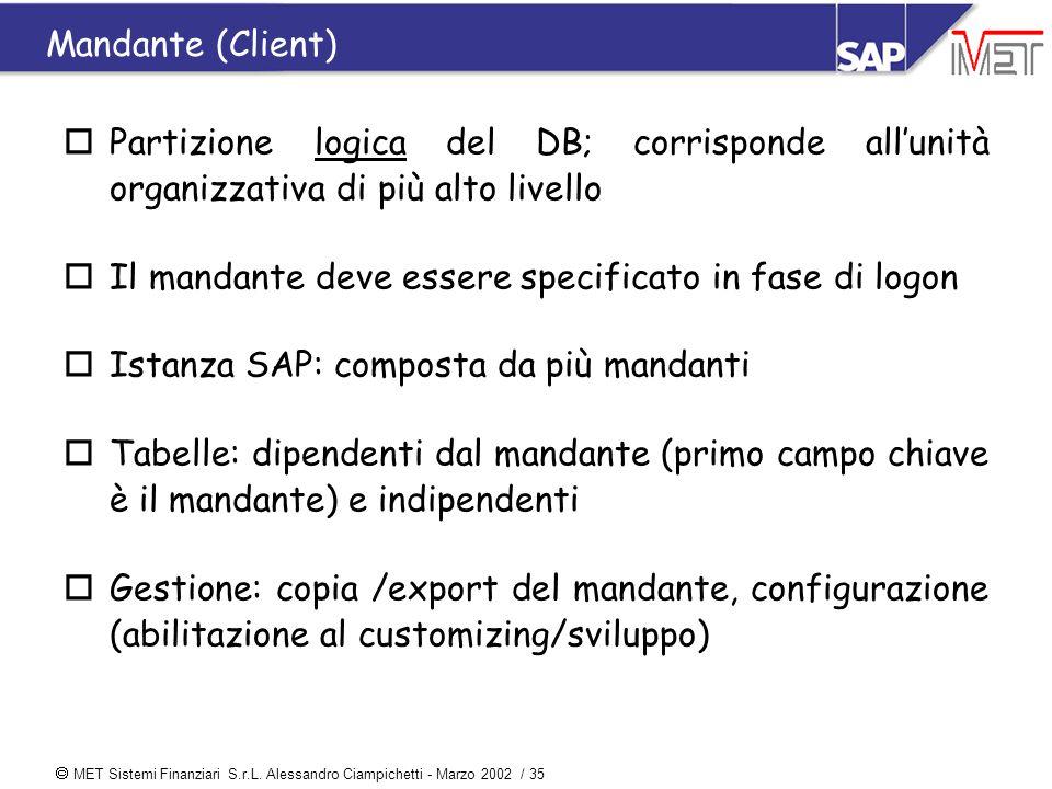  MET Sistemi Finanziari S.r.L. Alessandro Ciampichetti - Marzo 2002 / 35 Mandante (Client) oPartizione logica del DB; corrisponde all'unità organizza