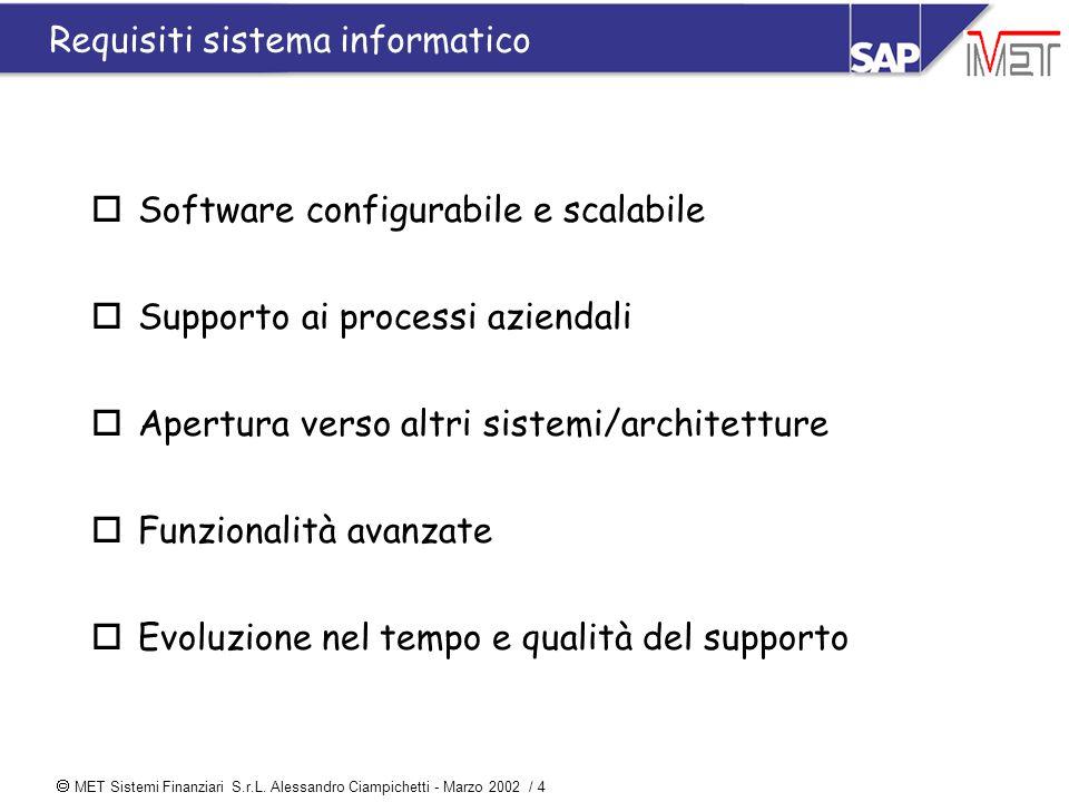  MET Sistemi Finanziari S.r.L. Alessandro Ciampichetti - Marzo 2002 / 4 Requisiti sistema informatico oSoftware configurabile e scalabile oSupporto a