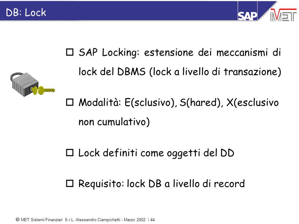  MET Sistemi Finanziari S.r.L. Alessandro Ciampichetti - Marzo 2002 / 44 DB: Lock oSAP Locking: estensione dei meccanismi di lock del DBMS (lock a li