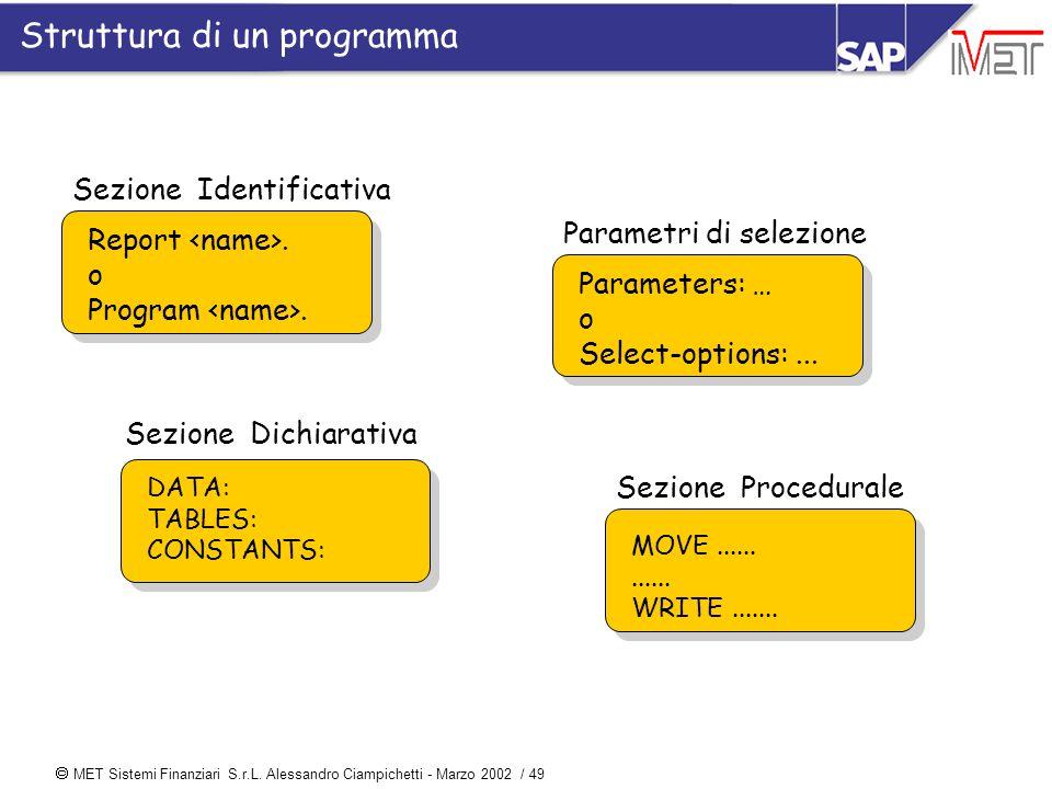  MET Sistemi Finanziari S.r.L. Alessandro Ciampichetti - Marzo 2002 / 49 Sezione Identificativa Report. o Program. Sezione Dichiarativa DATA: TABLES:
