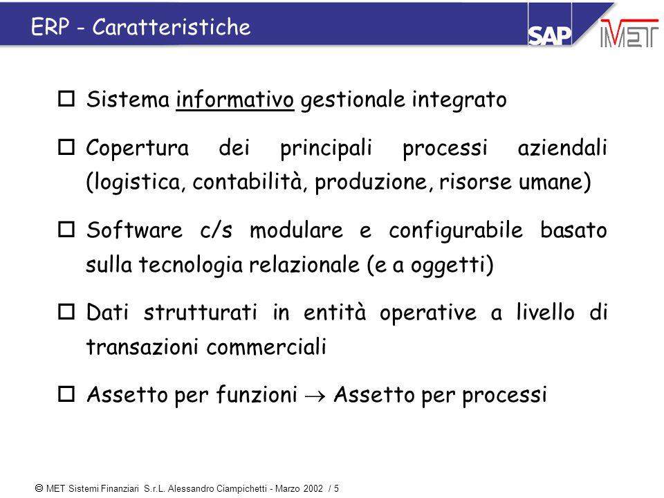  MET Sistemi Finanziari S.r.L. Alessandro Ciampichetti - Marzo 2002 / 5 ERP - Caratteristiche oSistema informativo gestionale integrato oCopertura de
