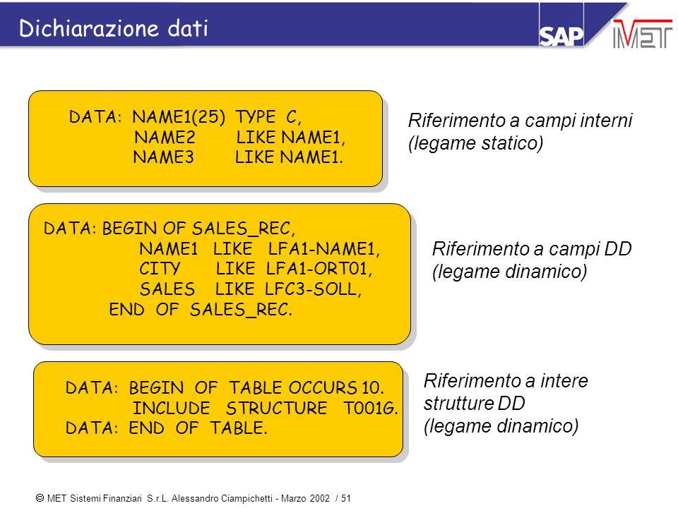  MET Sistemi Finanziari S.r.L. Alessandro Ciampichetti - Marzo 2002 / 51 DATA: NAME1(25) TYPE C, NAME2 LIKE NAME1, NAME3 LIKE NAME1. Riferimento a ca