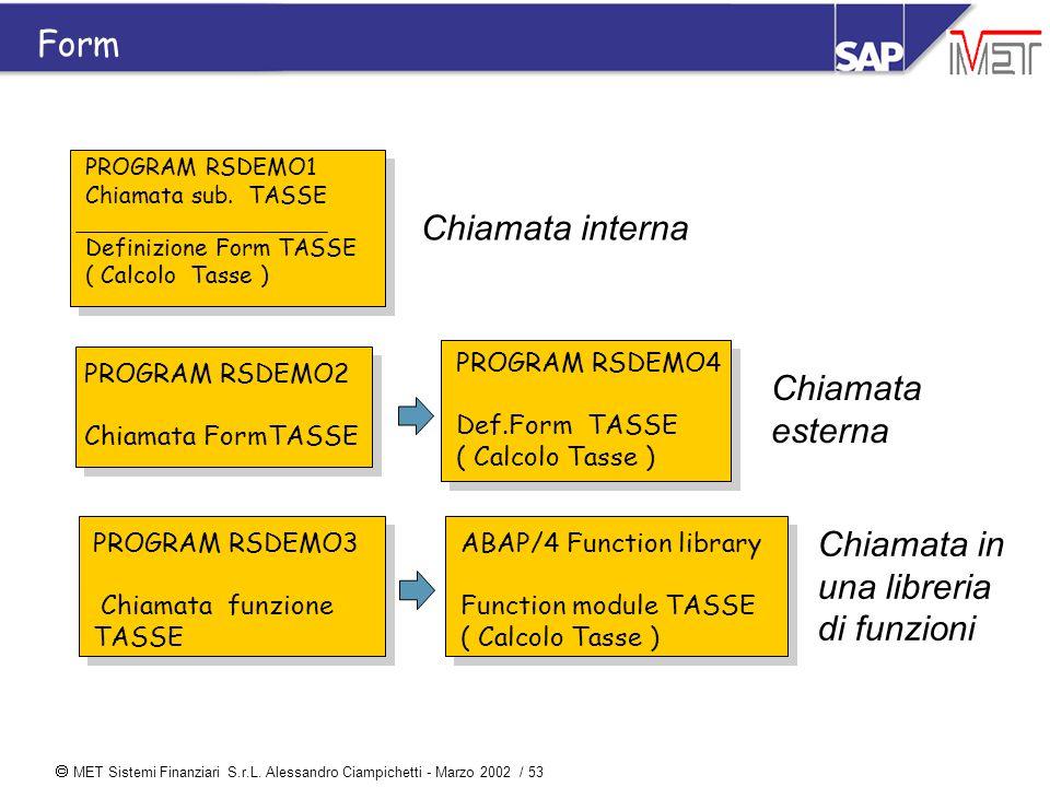  MET Sistemi Finanziari S.r.L. Alessandro Ciampichetti - Marzo 2002 / 53 Chiamata interna PROGRAM RSDEMO1 Chiamata sub. TASSE Definizione Form TASSE
