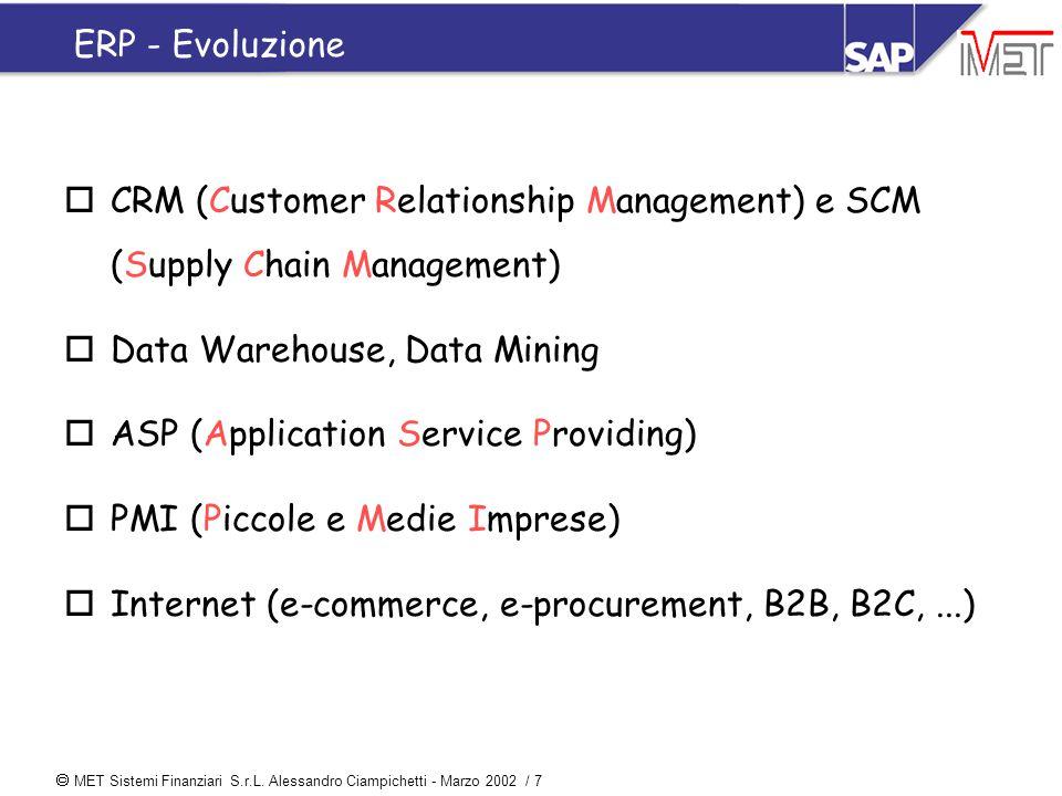  MET Sistemi Finanziari S.r.L. Alessandro Ciampichetti - Marzo 2002 / 7 ERP - Evoluzione oCRM (Customer Relationship Management) e SCM (Supply Chain