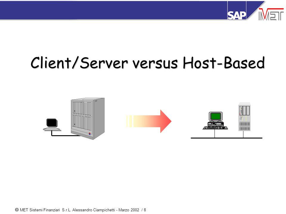  MET Sistemi Finanziari S.r.L. Alessandro Ciampichetti - Marzo 2002 / 8 Client/Server versus Host-Based