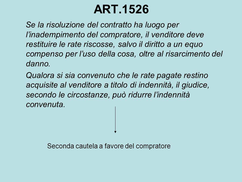 ART.1526 Se la risoluzione del contratto ha luogo per l'inadempimento del compratore, il venditore deve restituire le rate riscosse, salvo il diritto