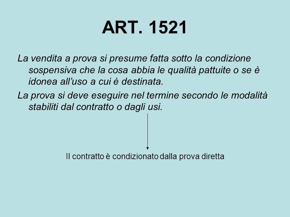 ART. 1521 La vendita a prova si presume fatta sotto la condizione sospensiva che la cosa abbia le qualità pattuite o se è idonea all'uso a cui è desti