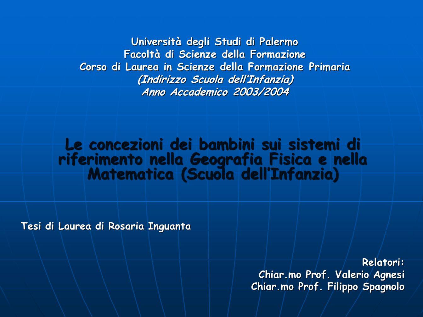 Rosaria Inguanta L'ipotesi portante di questo lavoro è quello della classificazione delle concezioni degli allievi della scuola dell'infanzia sui sistemi di riferimento in una situazione didattica che coinvolge sia la geografia fisica sia la matematica.
