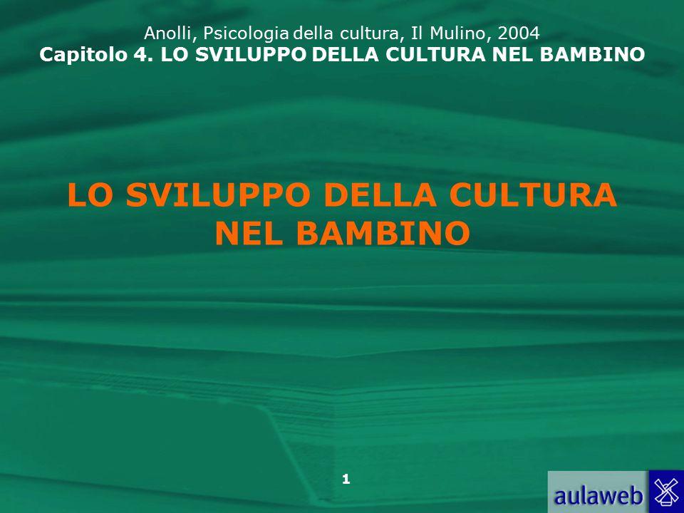 22 Anolli, Psicologia della cultura, Il Mulino, 2004 Capitolo 4.