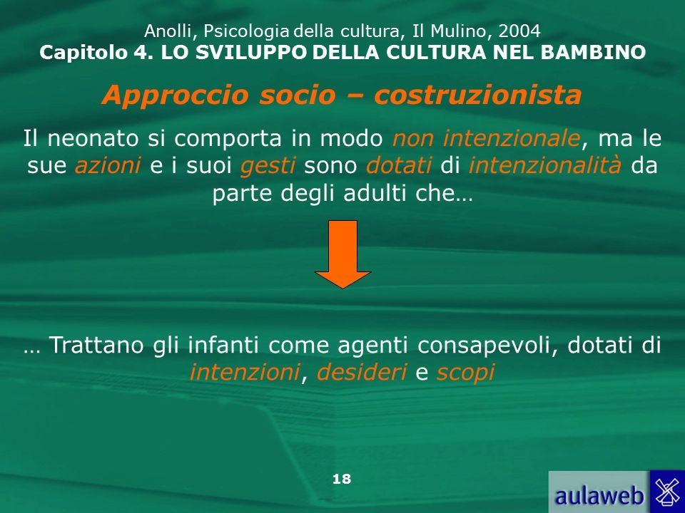 18 Anolli, Psicologia della cultura, Il Mulino, 2004 Capitolo 4.