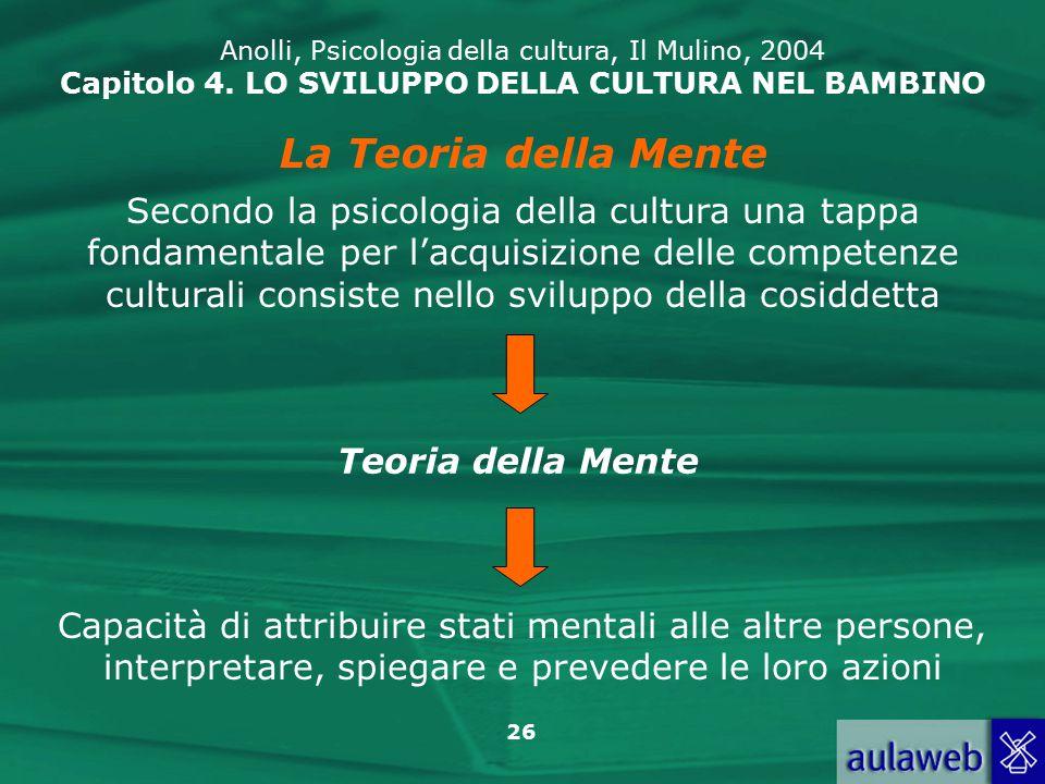 26 Anolli, Psicologia della cultura, Il Mulino, 2004 Capitolo 4.