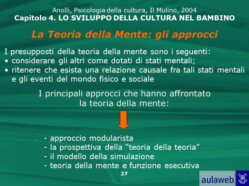 27 Anolli, Psicologia della cultura, Il Mulino, 2004 Capitolo 4.