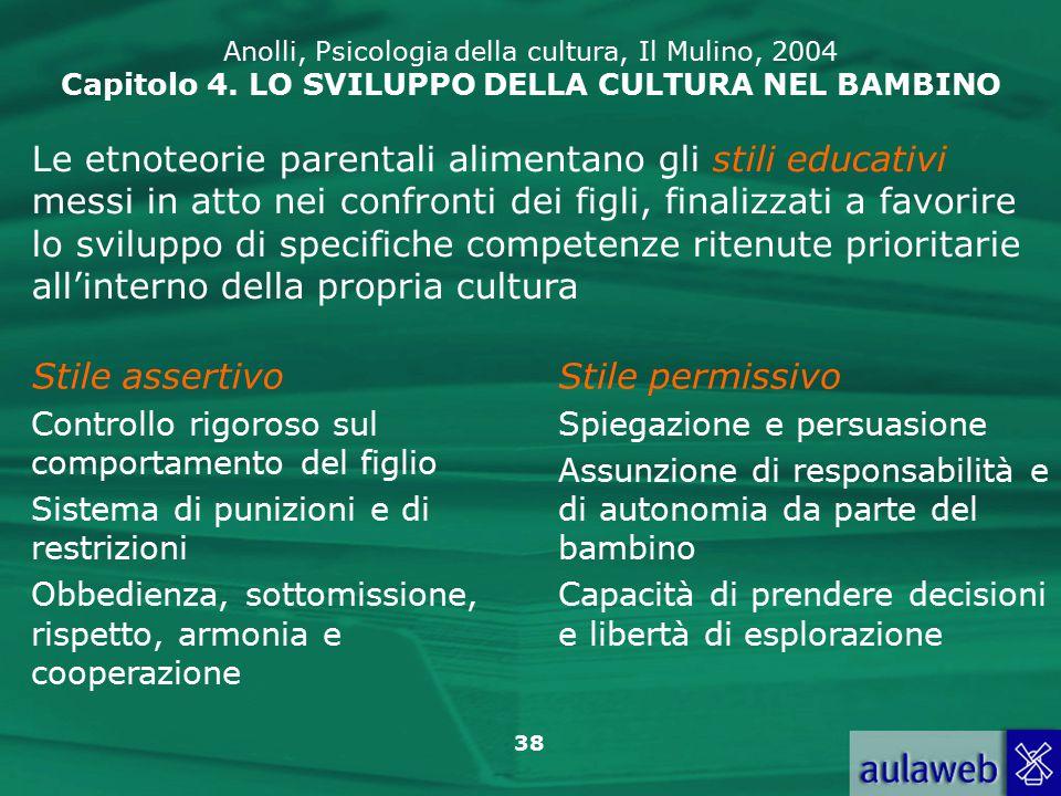 38 Anolli, Psicologia della cultura, Il Mulino, 2004 Capitolo 4.