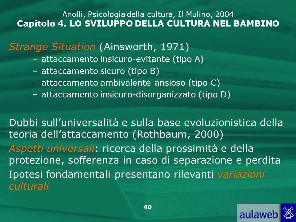 40 Anolli, Psicologia della cultura, Il Mulino, 2004 Capitolo 4.