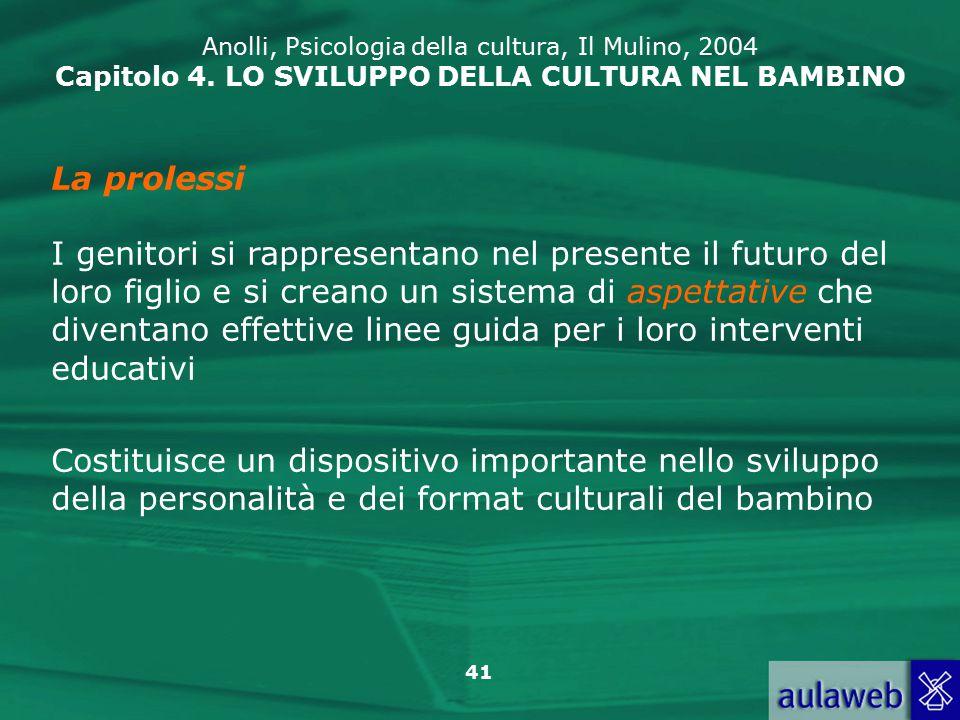 41 Anolli, Psicologia della cultura, Il Mulino, 2004 Capitolo 4.