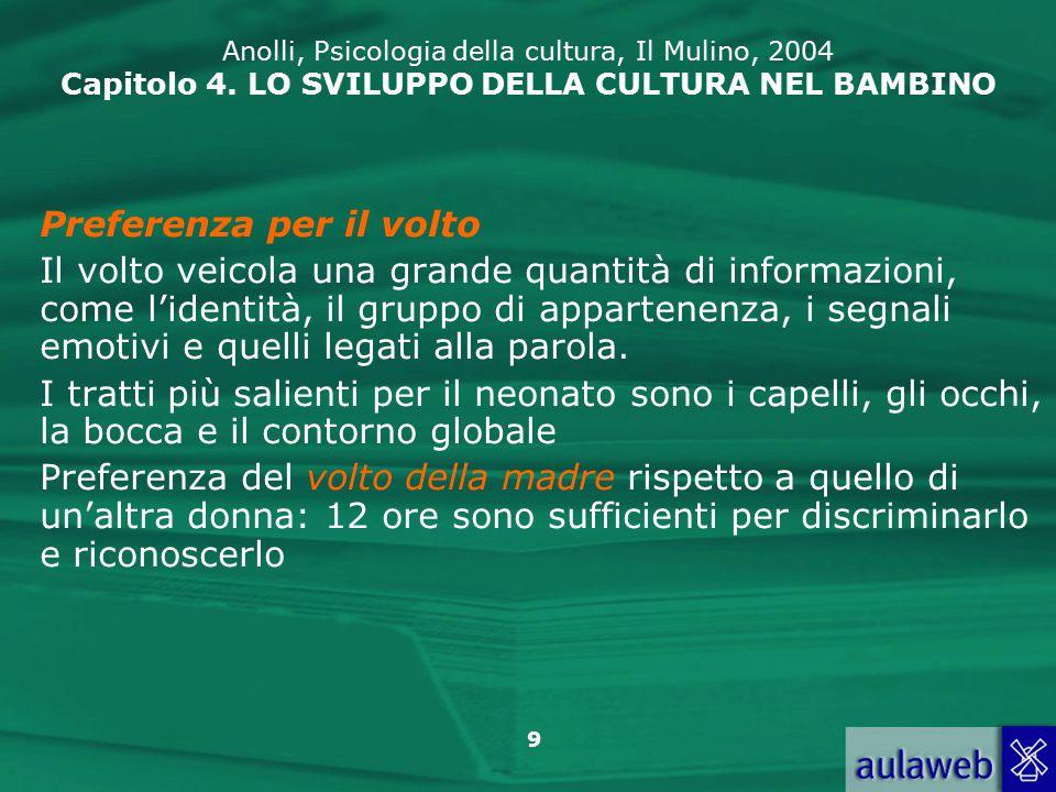 30 Anolli, Psicologia della cultura, Il Mulino, 2004 Capitolo 4.