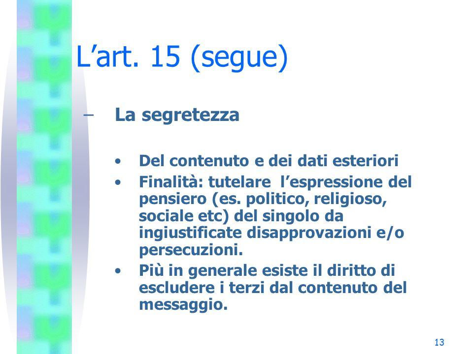 13 L'art. 15 (segue) – La segretezza Del contenuto e dei dati esteriori Finalità: tutelare l'espressione del pensiero (es. politico, religioso, social