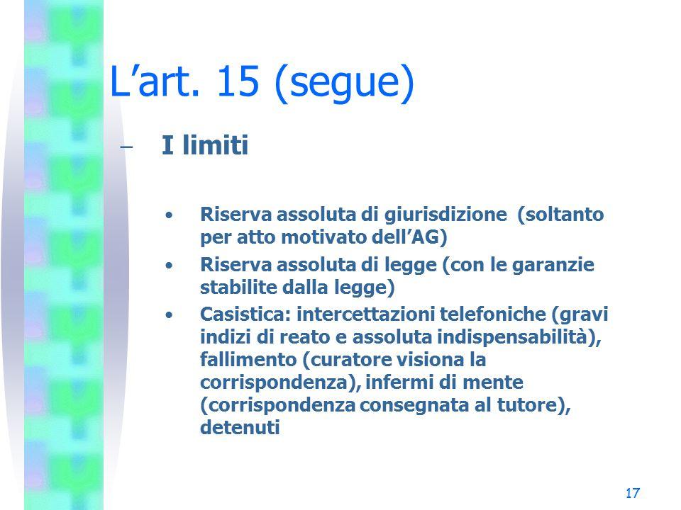 17 L'art. 15 (segue) – I limiti Riserva assoluta di giurisdizione (soltanto per atto motivato dell'AG) Riserva assoluta di legge (con le garanzie stab