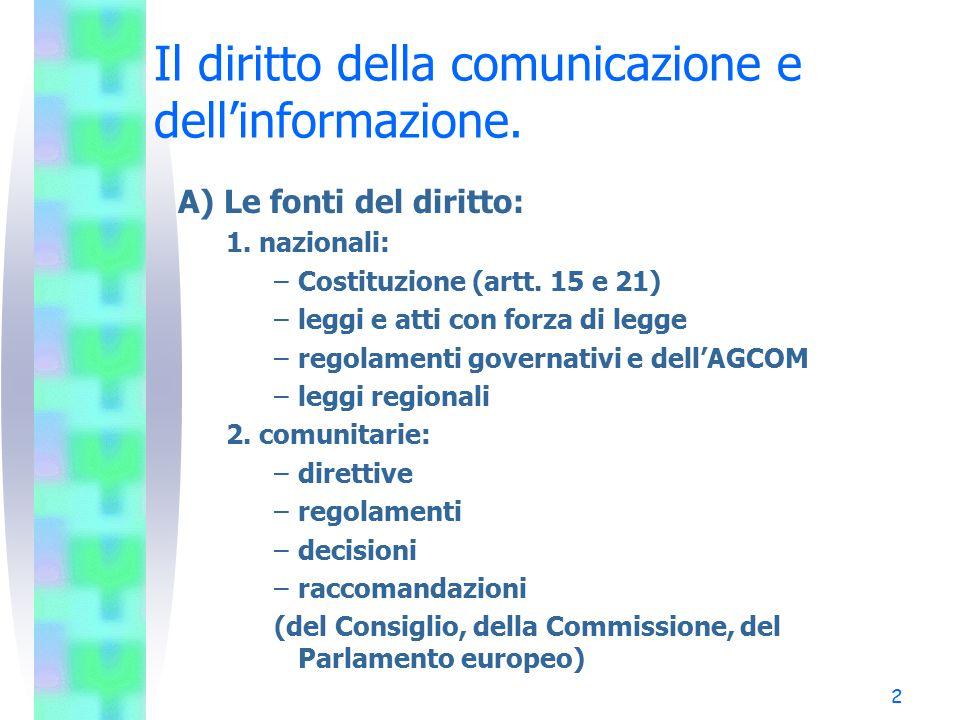 2 Il diritto della comunicazione e dell'informazione. A) Le fonti del diritto: 1. nazionali: –Costituzione (artt. 15 e 21) –leggi e atti con forza di