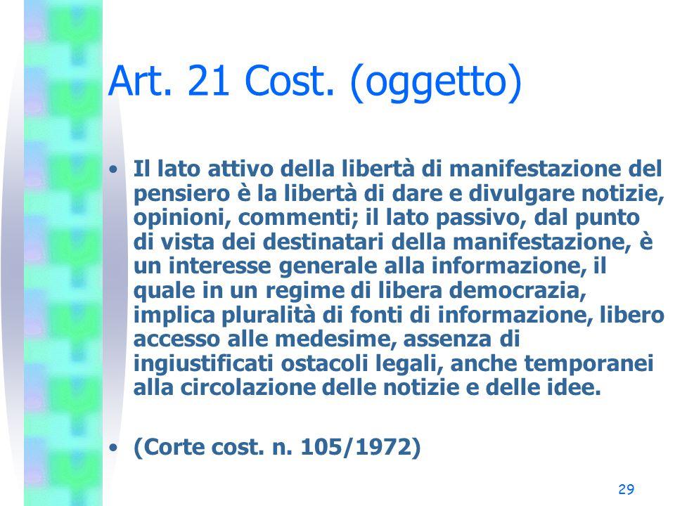 29 Art. 21 Cost. (oggetto) Il lato attivo della libertà di manifestazione del pensiero è la libertà di dare e divulgare notizie, opinioni, commenti; i