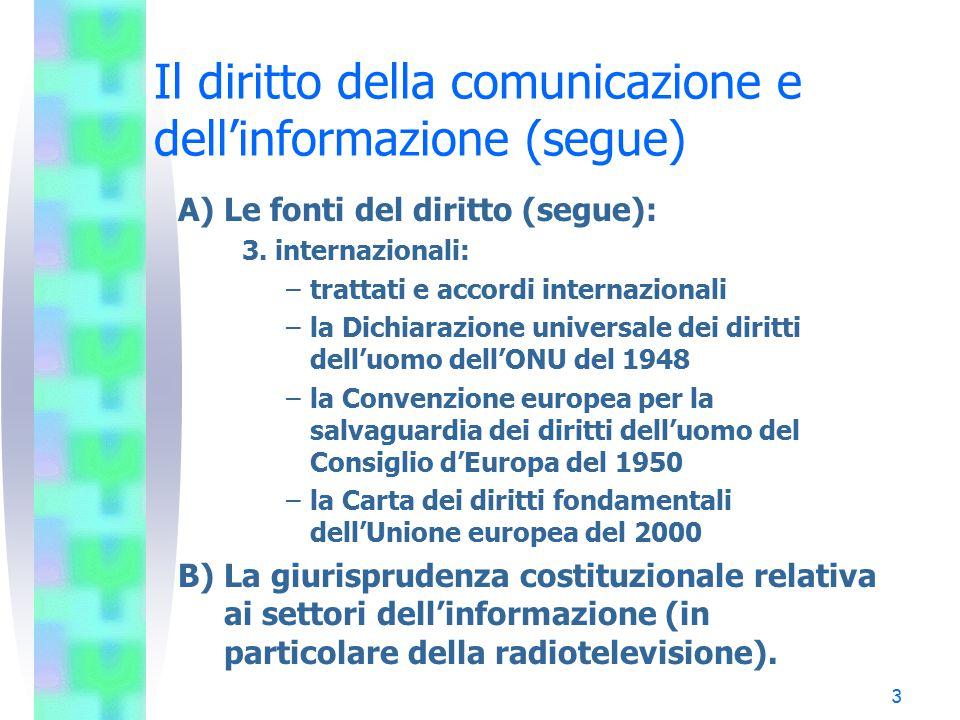 3 Il diritto della comunicazione e dell'informazione (segue) A) Le fonti del diritto (segue): 3. internazionali: –trattati e accordi internazionali –l