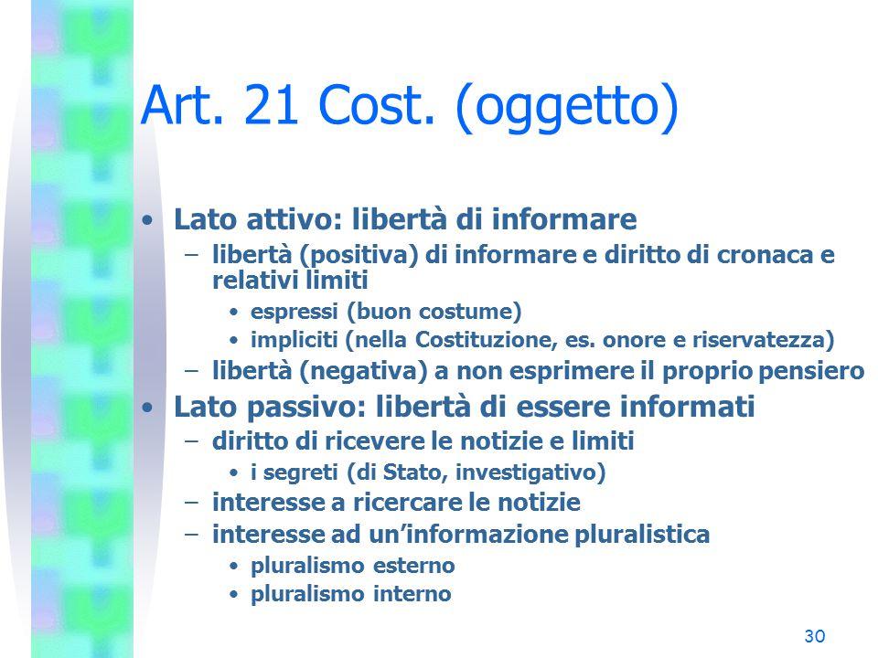 30 Art. 21 Cost. (oggetto) Lato attivo: libertà di informare –libertà (positiva) di informare e diritto di cronaca e relativi limiti espressi (buon co