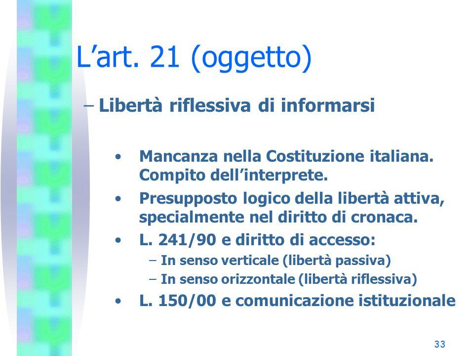 33 L'art. 21 (oggetto) –Libertà riflessiva di informarsi Mancanza nella Costituzione italiana. Compito dell'interprete. Presupposto logico della liber