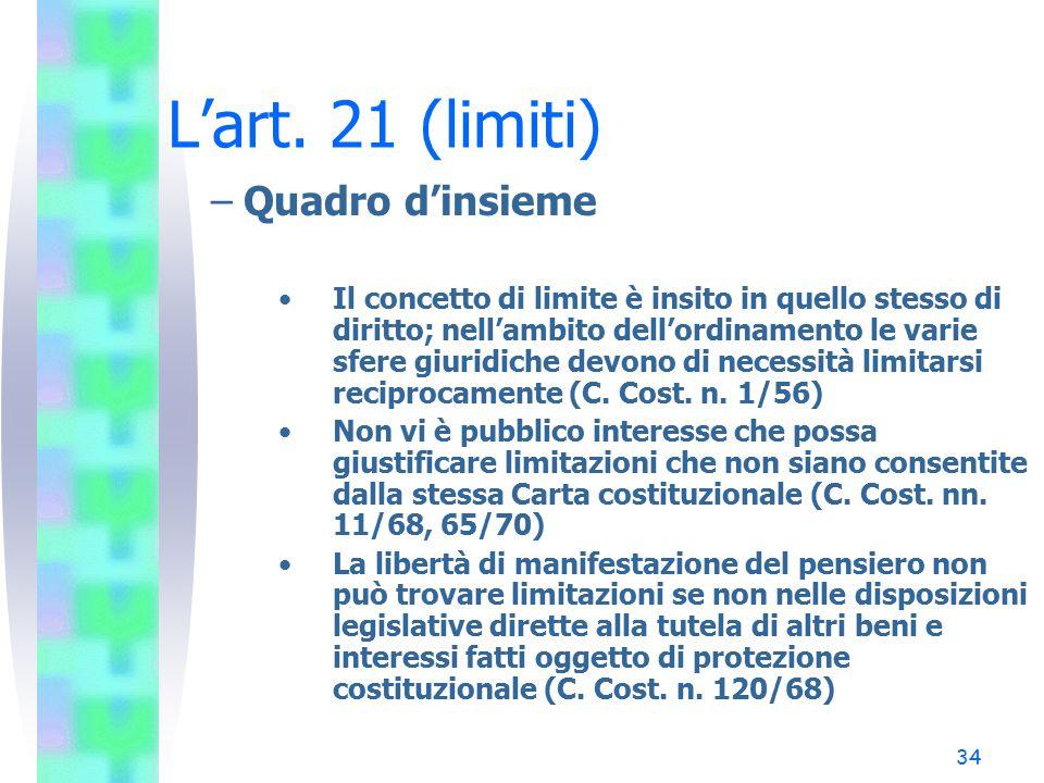 34 L'art. 21 (limiti) –Quadro d'insieme Il concetto di limite è insito in quello stesso di diritto; nell'ambito dell'ordinamento le varie sfere giurid