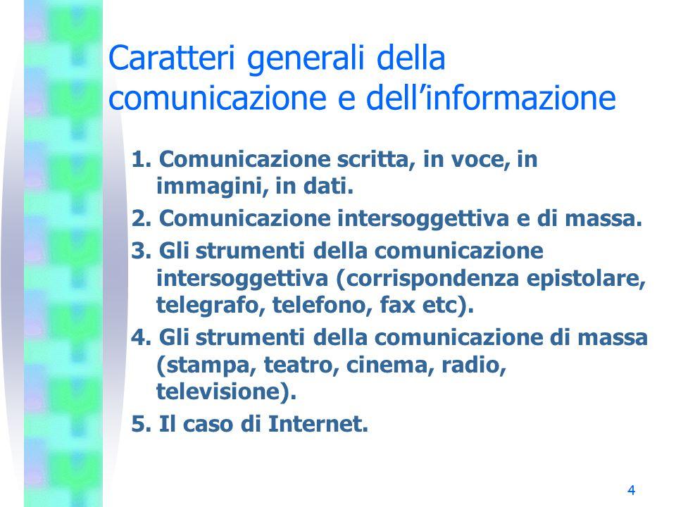 4 Caratteri generali della comunicazione e dell'informazione 1. Comunicazione scritta, in voce, in immagini, in dati. 2. Comunicazione intersoggettiva