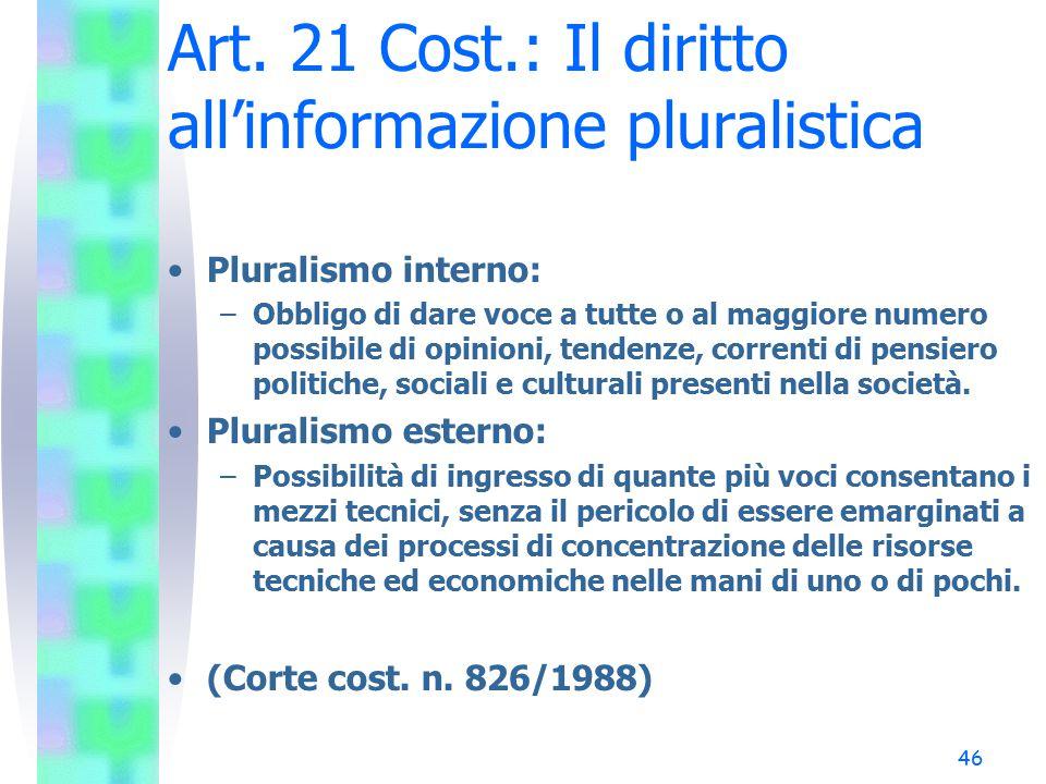 46 Art. 21 Cost.: Il diritto all'informazione pluralistica Pluralismo interno: –Obbligo di dare voce a tutte o al maggiore numero possibile di opinion