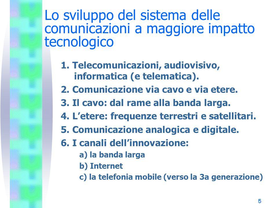 5 Lo sviluppo del sistema delle comunicazioni a maggiore impatto tecnologico 1. Telecomunicazioni, audiovisivo, informatica (e telematica). 2. Comunic