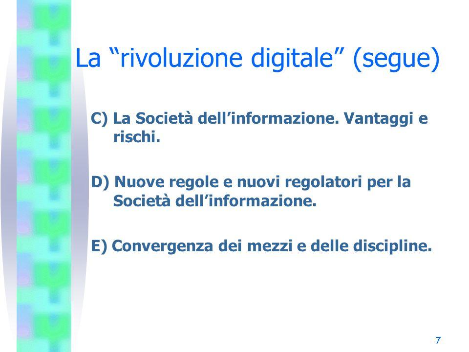 """7 La """"rivoluzione digitale"""" (segue) C) La Società dell'informazione. Vantaggi e rischi. D) Nuove regole e nuovi regolatori per la Società dell'informa"""