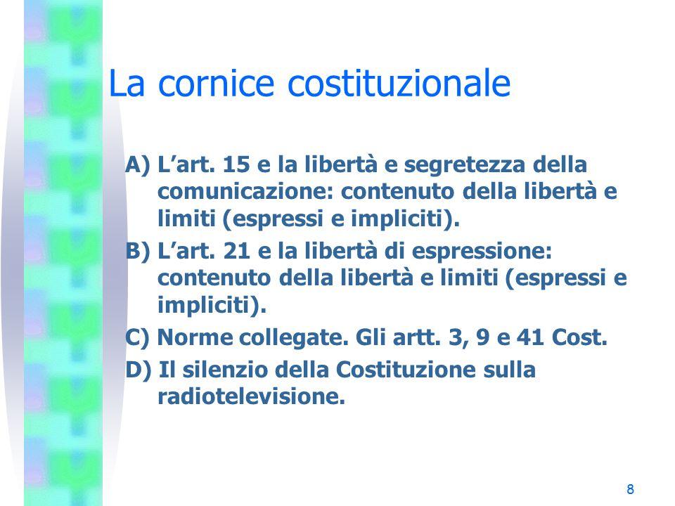 8 La cornice costituzionale A) L'art. 15 e la libertà e segretezza della comunicazione: contenuto della libertà e limiti (espressi e impliciti). B) L'