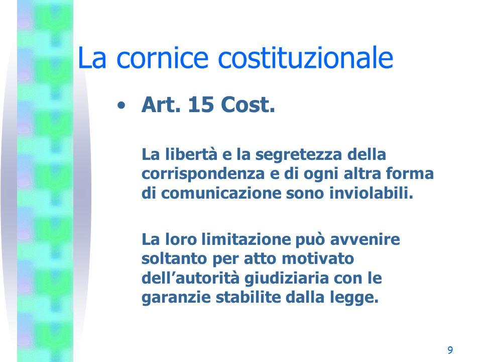9 La cornice costituzionale Art. 15 Cost. La libertà e la segretezza della corrispondenza e di ogni altra forma di comunicazione sono inviolabili. La