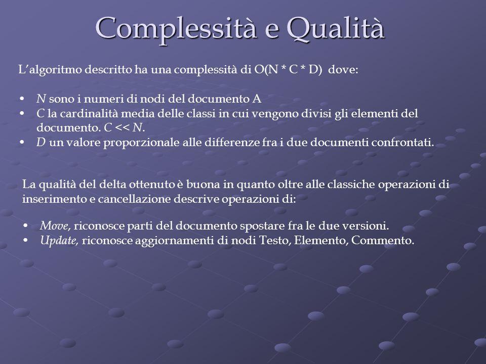 Complessità e Qualità Move, riconosce parti del documento spostare fra le due versioni.