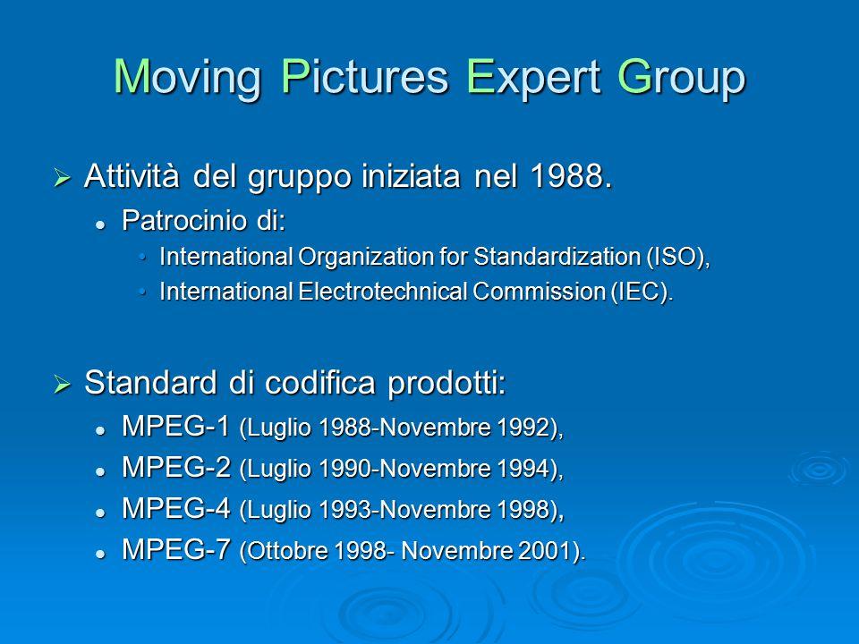 Moving Pictures Expert Group  Attività del gruppo iniziata nel 1988. Patrocinio di: Patrocinio di: International Organization for Standardization (IS