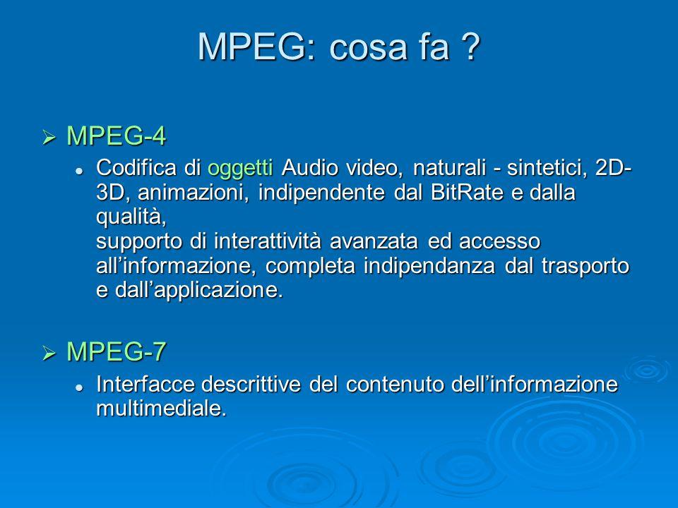 MPEG: cosa fa ?  MPEG-4 Codifica di oggetti Audio video, naturali - sintetici, 2D- 3D, animazioni, indipendente dal BitRate e dalla qualità, supporto