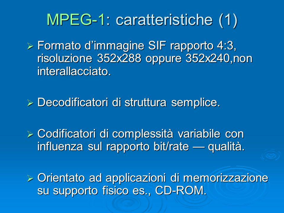 MPEG-1: caratteristiche (1)  Formato d'immagine SIF rapporto 4:3, risoluzione 352x288 oppure 352x240,non interallacciato.  Decodificatori di struttu