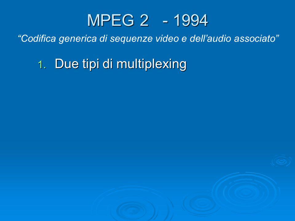 """MPEG 2 - 1994 1. Due tipi di multiplexing """"Codifica generica di sequenze video e dell'audio associato"""""""