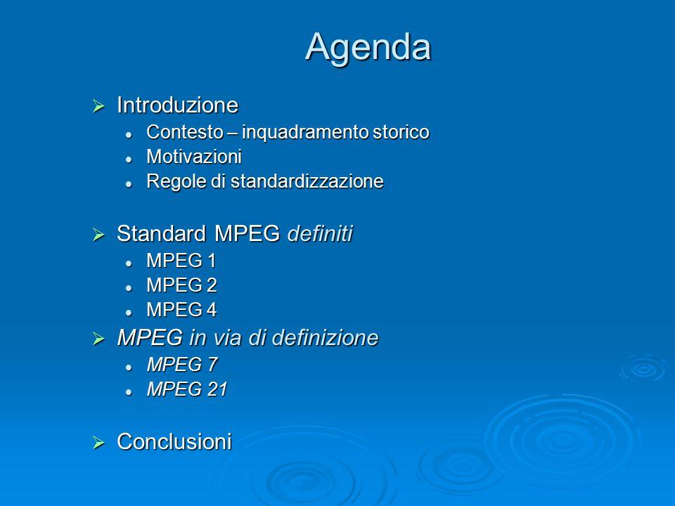 Agenda  Introduzione Contesto – inquadramento storico Contesto – inquadramento storico Motivazioni Motivazioni Regole di standardizzazione Regole di standardizzazione  Standard MPEG definiti MPEG 1 MPEG 1 MPEG 2 MPEG 2 MPEG 4 MPEG 4  MPEG in via di definizione MPEG 7 MPEG 7 MPEG 21 MPEG 21  Conclusioni
