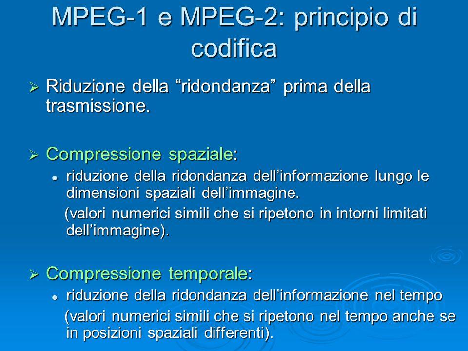 MPEG-1 e MPEG-2: principio di codifica  Riduzione della ridondanza prima della trasmissione.