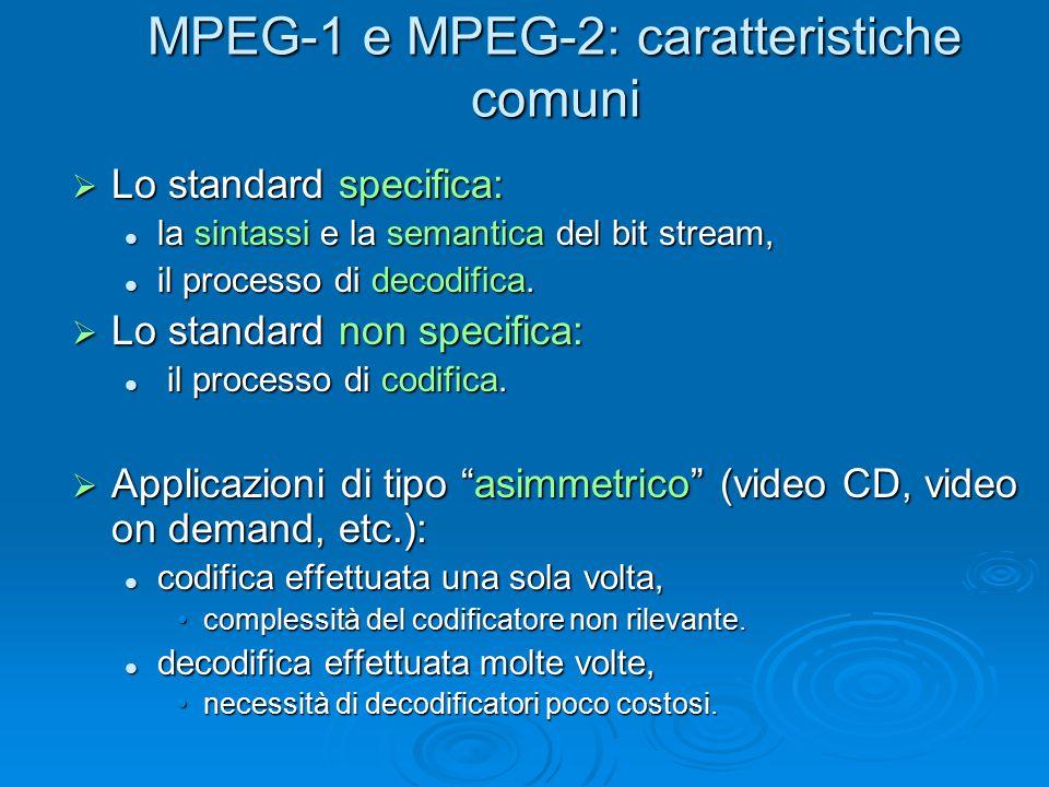 MPEG-1 e MPEG-2: caratteristiche comuni  Lo standard specifica: la sintassi e la semantica del bit stream, la sintassi e la semantica del bit stream,