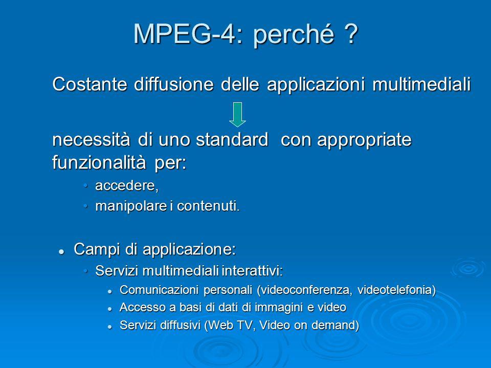 MPEG-4: perché ? Costante diffusione delle applicazioni multimediali necessità di uno standard con appropriate funzionalità per: accedere,accedere, ma