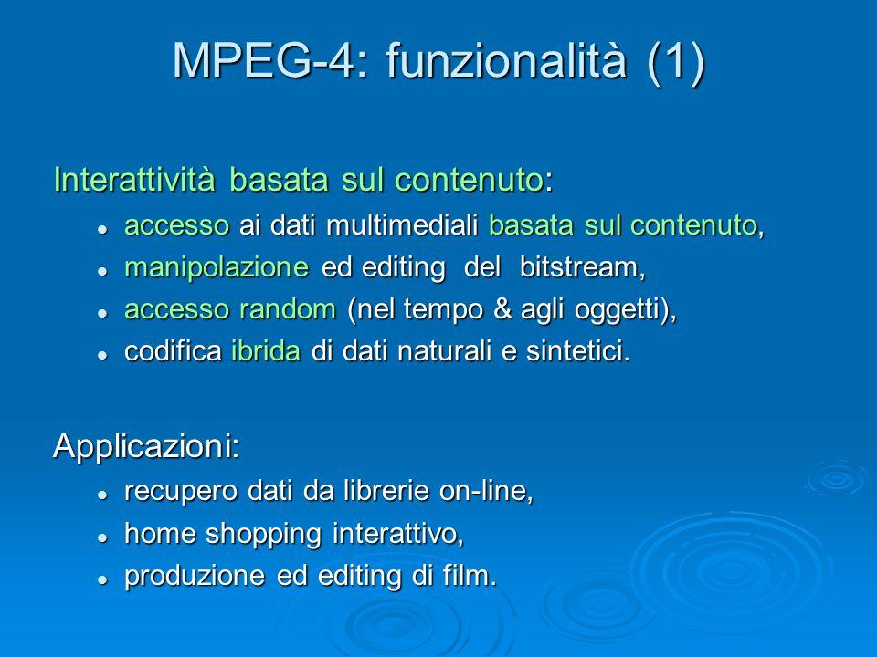 MPEG-4: funzionalità (1) Interattività basata sul contenuto: accesso ai dati multimediali basata sul contenuto, accesso ai dati multimediali basata sul contenuto, manipolazione ed editing del bitstream, manipolazione ed editing del bitstream, accesso random (nel tempo & agli oggetti), accesso random (nel tempo & agli oggetti), codifica ibrida di dati naturali e sintetici.