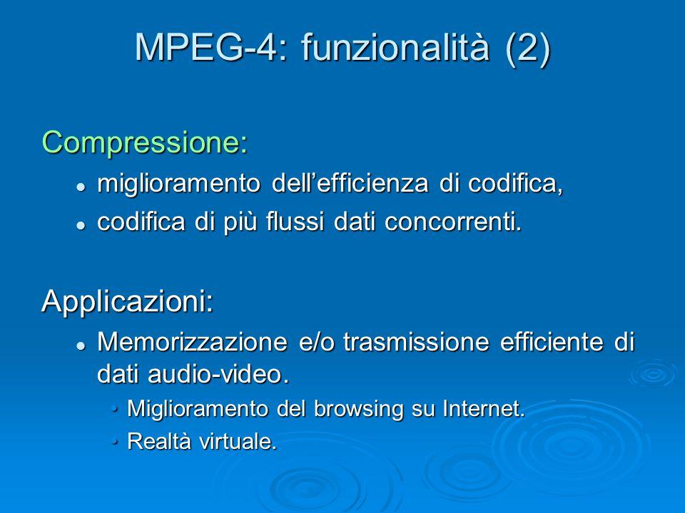 MPEG-4: funzionalità (2) Compressione: miglioramento dell'efficienza di codifica, miglioramento dell'efficienza di codifica, codifica di più flussi dati concorrenti.