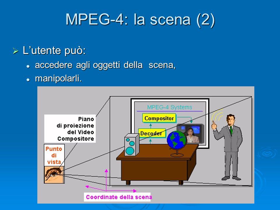 MPEG-4: la scena (2)  L'utente può: accedere agli oggetti della scena, accedere agli oggetti della scena, manipolarli. manipolarli.