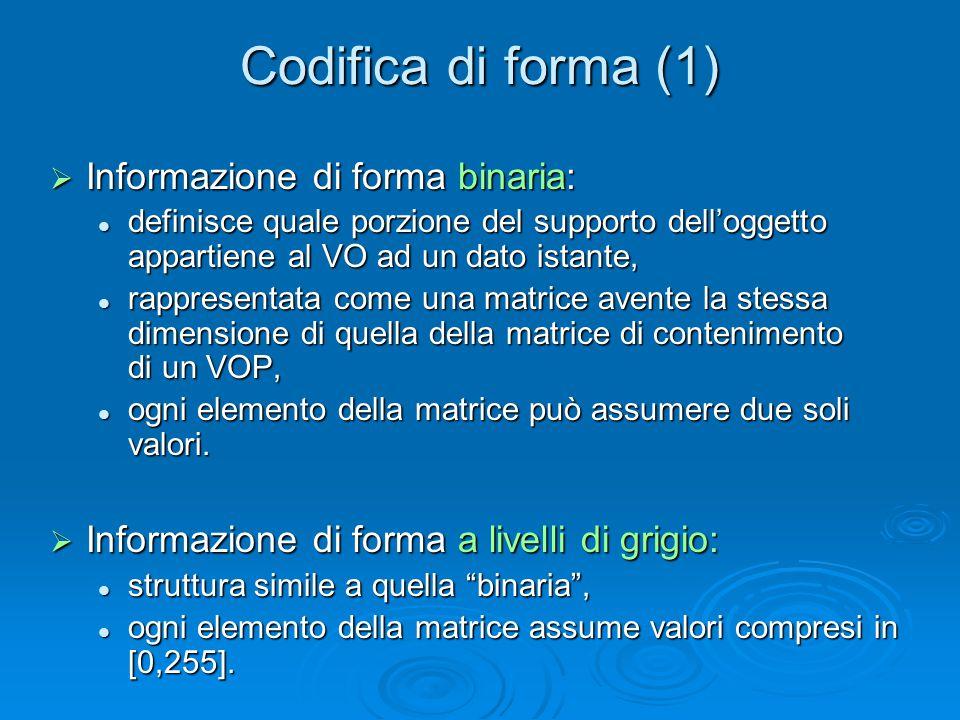 Codifica di forma (1)  Informazione di forma binaria: definisce quale porzione del supporto dell'oggetto appartiene al VO ad un dato istante, definisce quale porzione del supporto dell'oggetto appartiene al VO ad un dato istante, rappresentata come una matrice avente la stessa dimensione di quella della matrice di contenimento di un VOP, rappresentata come una matrice avente la stessa dimensione di quella della matrice di contenimento di un VOP, ogni elemento della matrice può assumere due soli valori.
