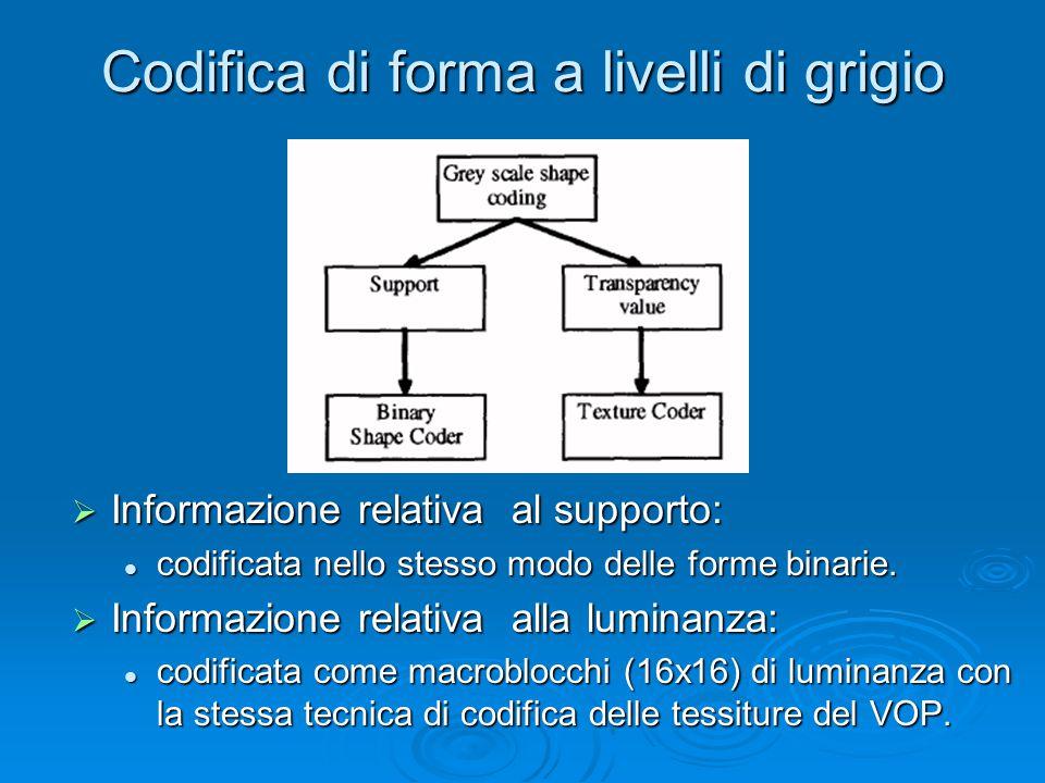 Codifica di forma a livelli di grigio  Informazione relativa al supporto: codificata nello stesso modo delle forme binarie.