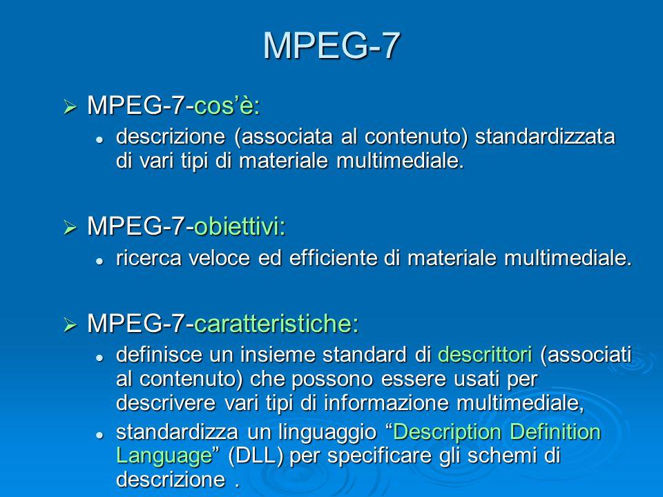 MPEG-7  MPEG-7-cos'è: descrizione (associata al contenuto) standardizzata di vari tipi di materiale multimediale. descrizione (associata al contenuto