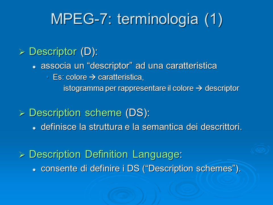 MPEG-7: terminologia (1)  Descriptor (D): associa un descriptor ad una caratteristica associa un descriptor ad una caratteristica Es: colore  caratteristica,Es: colore  caratteristica, istogramma per rappresentare il colore  descriptor istogramma per rappresentare il colore  descriptor  Description scheme (DS): definisce la struttura e la semantica dei descrittori.